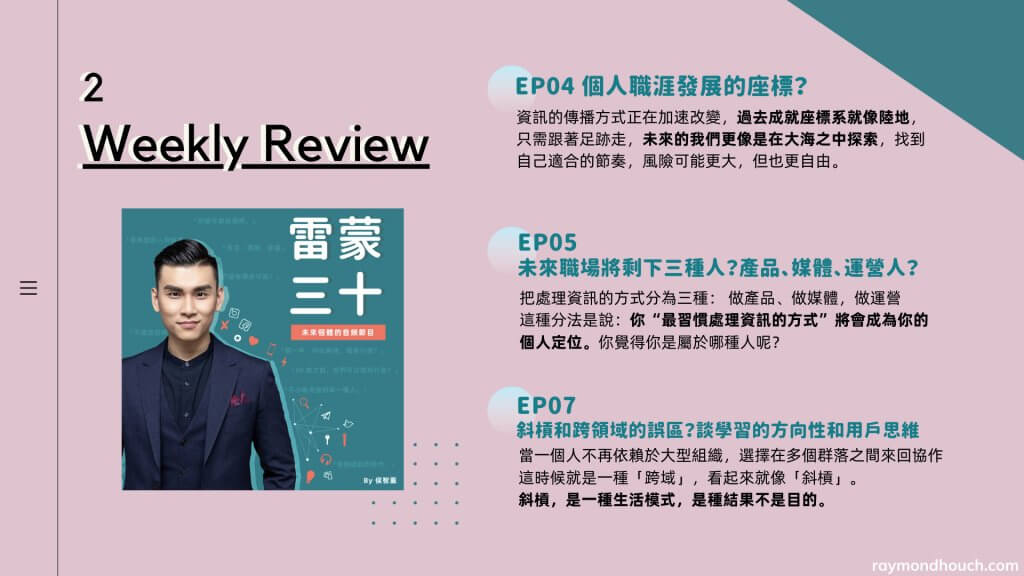 雷蒙三十 Weekly Review2